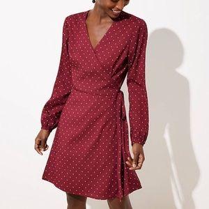 LOFT L/S Wrap Burgundy Mini Star Print Dress